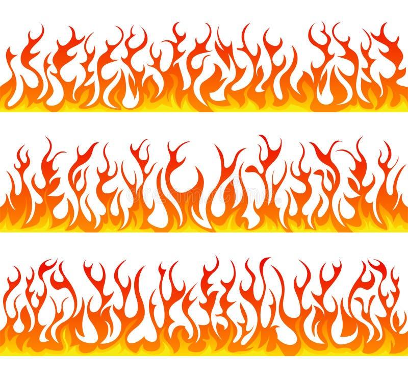 Bezszwowych pożarniczych płomieni wektoru kreskowy set royalty ilustracja