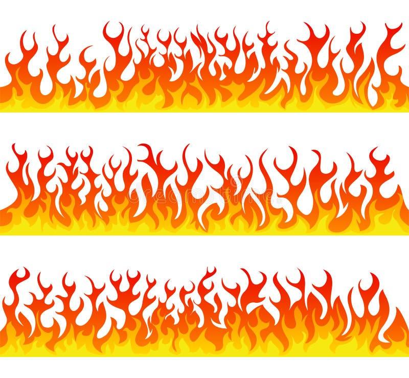 Bezszwowych pożarniczych płomieni wektoru kreskowy set ilustracja wektor