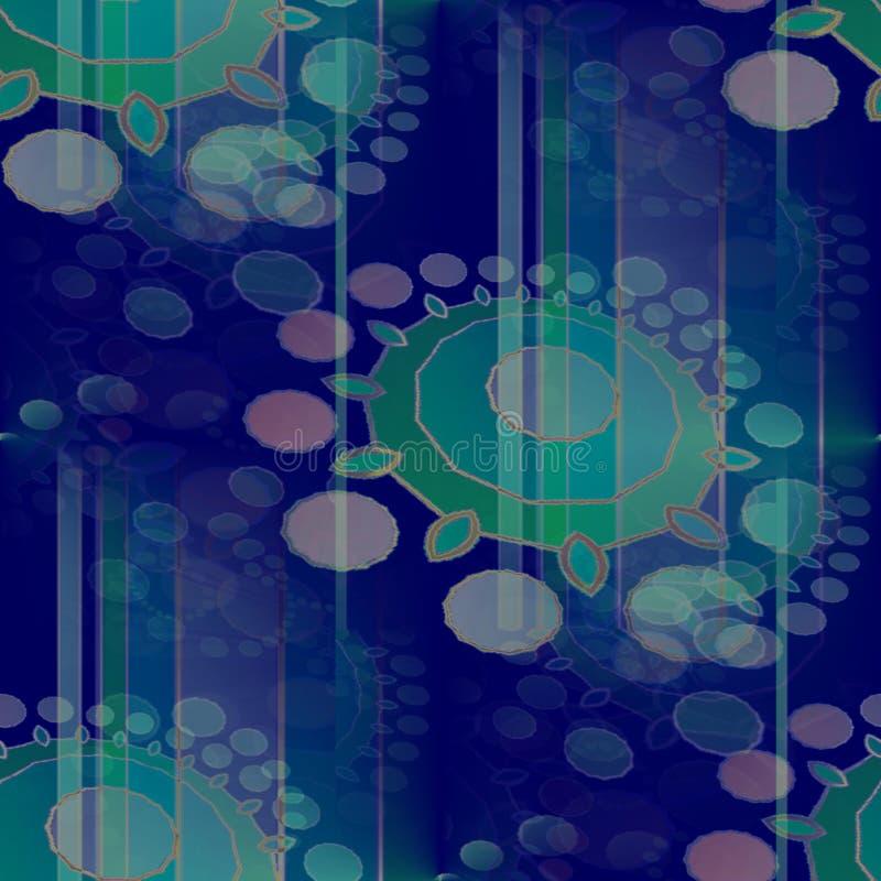 Bezszwowych w zawiły sposób okregów deseniowy zmrok - błękitnej zieleni turkusowy fiołek i purpury z lampasami pionowo i zamazują ilustracji
