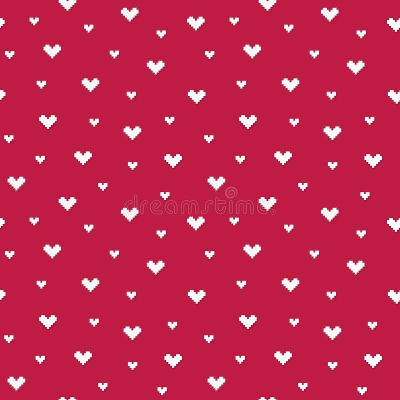 Bezszwowych wektorowych piksli serc deseniowa czerwona śmietanka ilustracji