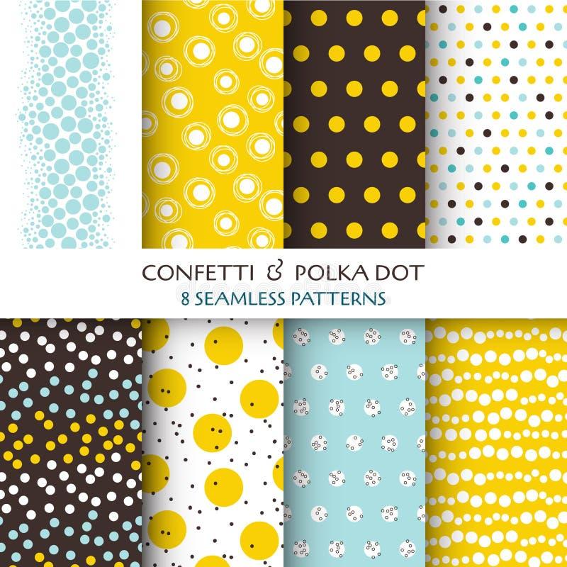 8 Bezszwowych wzorów - confetti i polki kropka royalty ilustracja