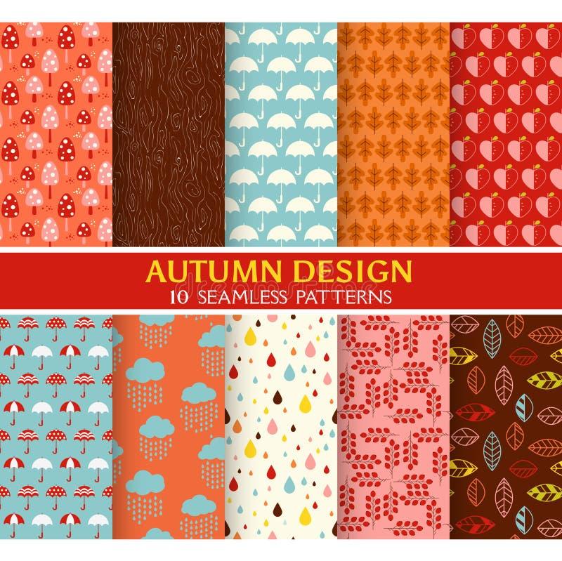 10 Bezszwowych wzorów - jesień set ilustracji