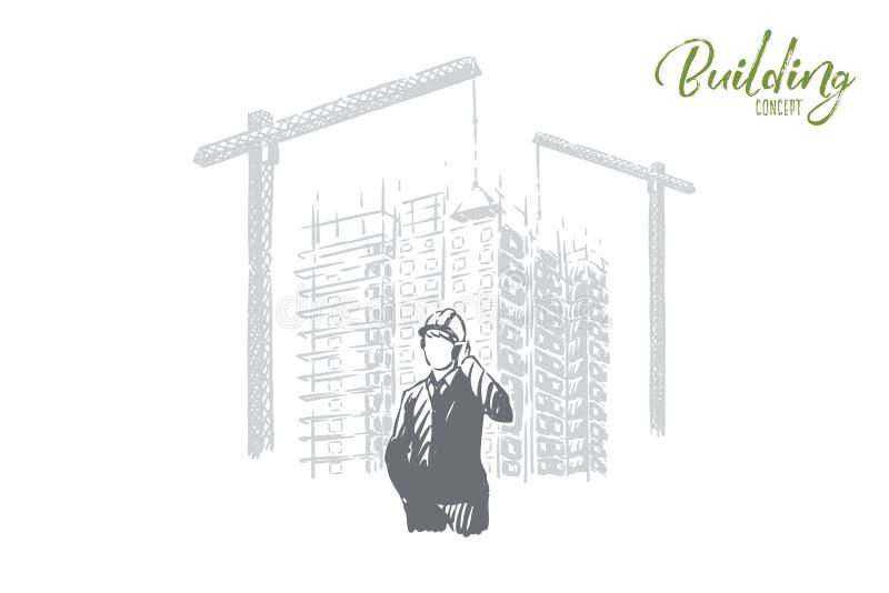 Beztwarzowy biznesmen, brygadier opowiada na telefonie w ciężkim kapeluszu, przemysłowi podnośni żurawie, architekta zawód ilustracji
