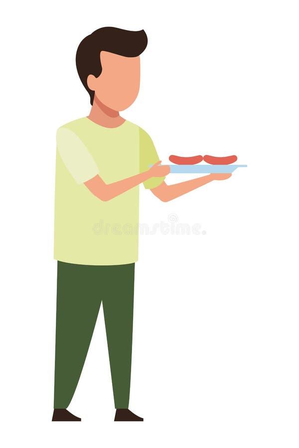 Beztwarzowy chłopiec grilla grill ilustracji