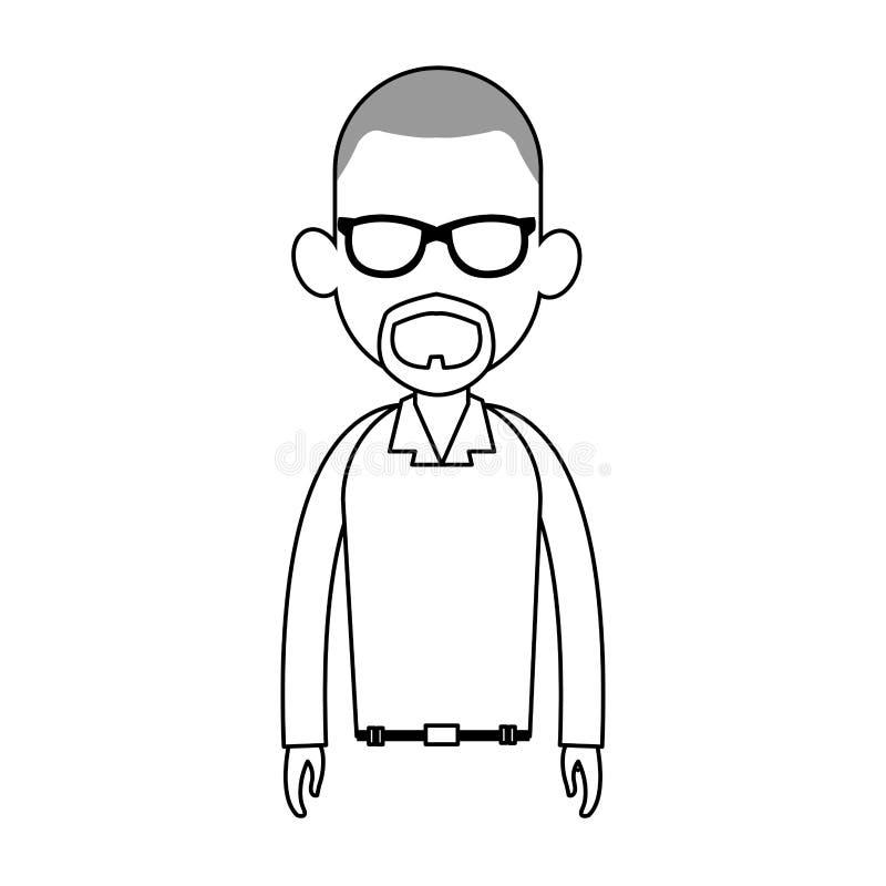 beztwarzowy mężczyzna kreskówki ikony wizerunek ilustracji