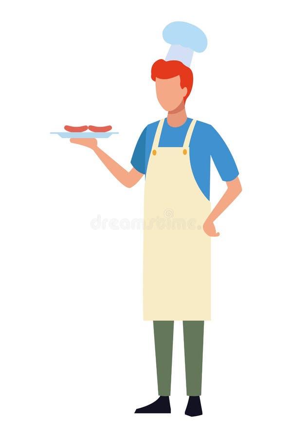 Beztwarzowy szefa kuchni grilla jedzenie ilustracja wektor