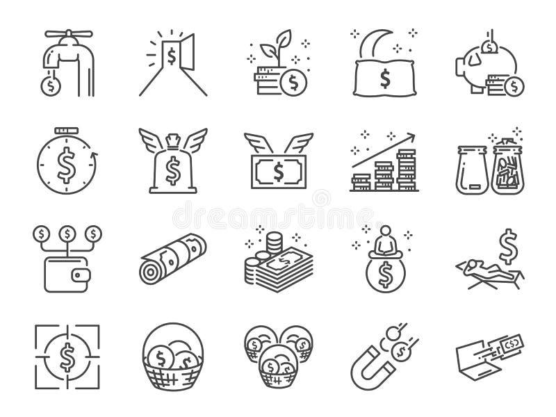 Bezwolnego dochodu linii ikony set Zawrzeć ikony jako Pieniężna wolność, koszty, opłata, inwestować i więcej, ilustracja wektor