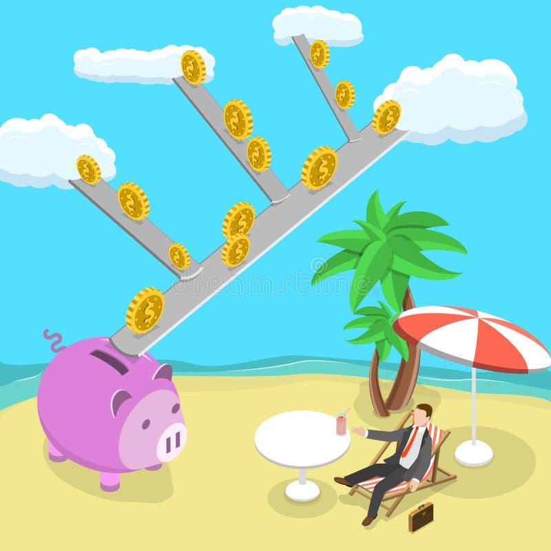 Bezwolnego dochodu płaska isometric wektorowa ilustracja royalty ilustracja