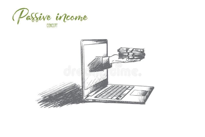 Bezwolnego dochodu pojęcie Ręka rysujący odosobniony wektor ilustracji