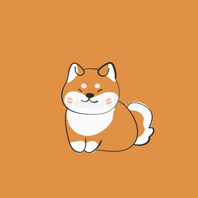 Funny shiba inu dog smile icon, vector vector illustration