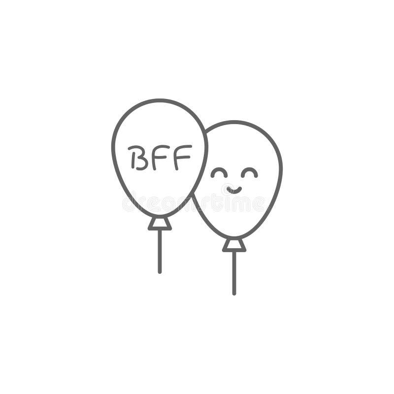Bff, Ballon, Lächelnikone Element der Freundschaftsikone D?nne Linie Ikone f?r Websitedesign und Entwicklung, APP-Entwicklung ers lizenzfreie abbildung