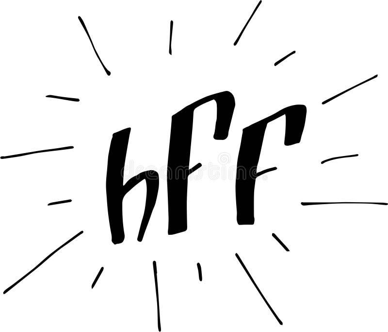 BFF- eller b?sta v?nf?r evigt Bokst?verillustration stock illustrationer