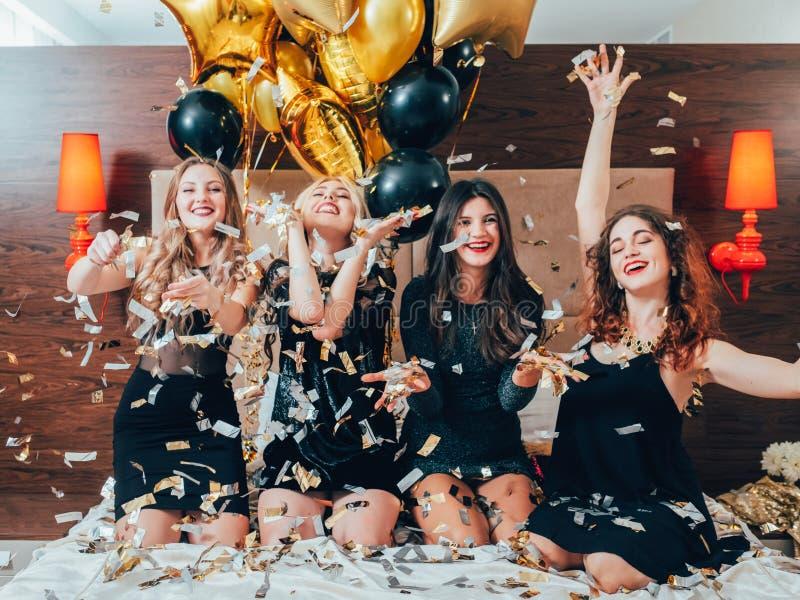 Bff hangout urban girls leisure lifestyle confetti royalty free stock photos