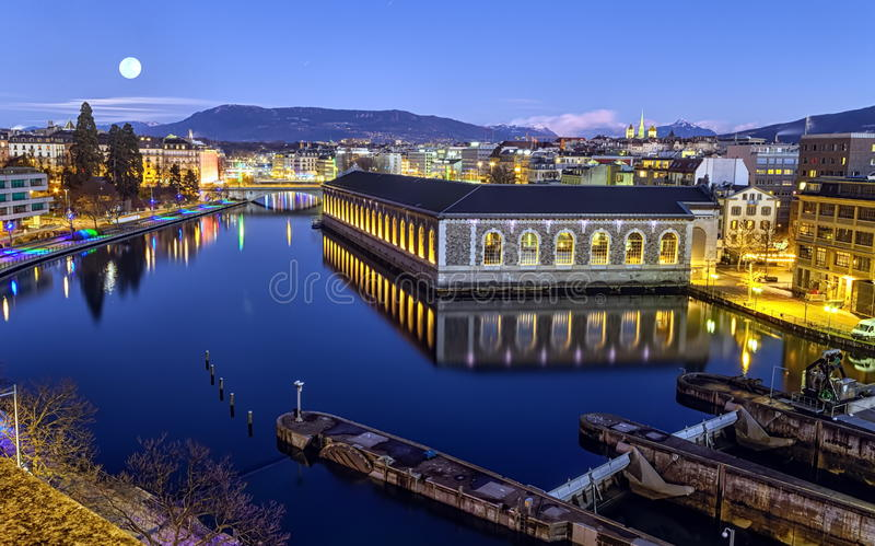 BFM, cathedral tower and Rhone river, Geneva stock photo