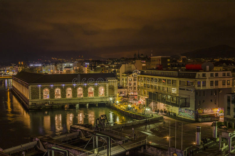 The BFM and Usine at night Geneva stock photos