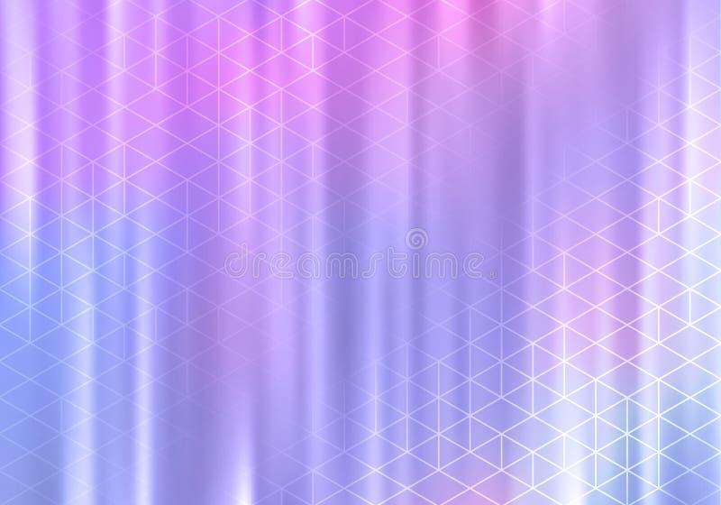 BG holográfica bonita com linhas geométricas Bandeira elegante do vetor ilustração stock