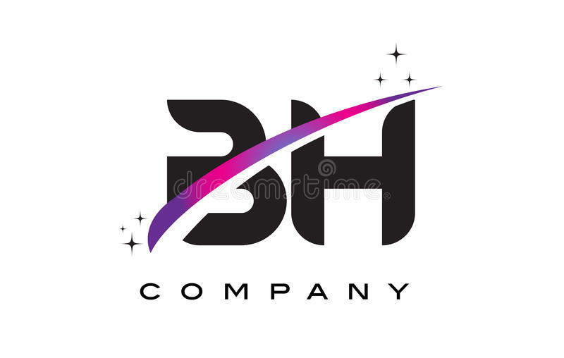 BH B H Black Letter Logo Design with Purple Magenta Swoosh. And Stars stock illustration