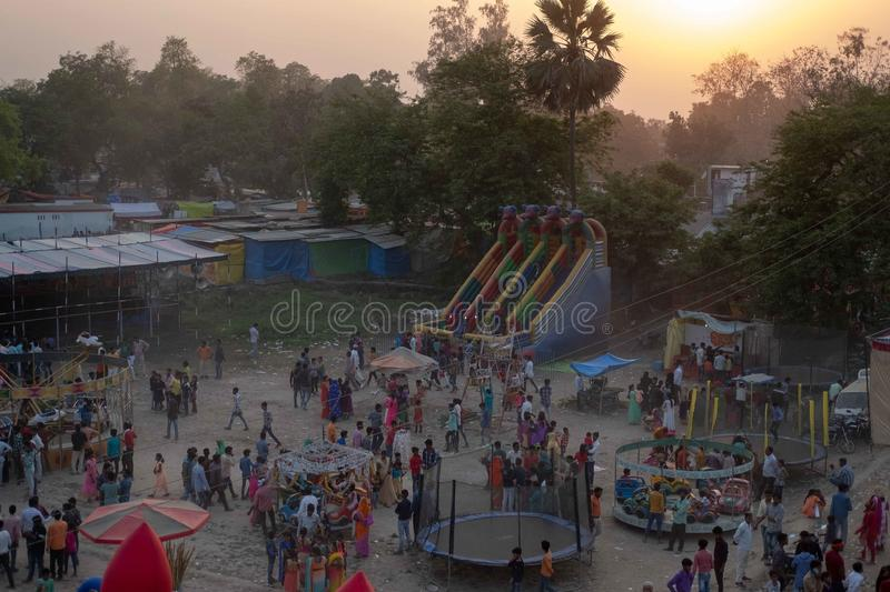Bhadarsa, An elevated view of a festival surrounding NANDIGRAM BHARATKUND. royalty free stock image