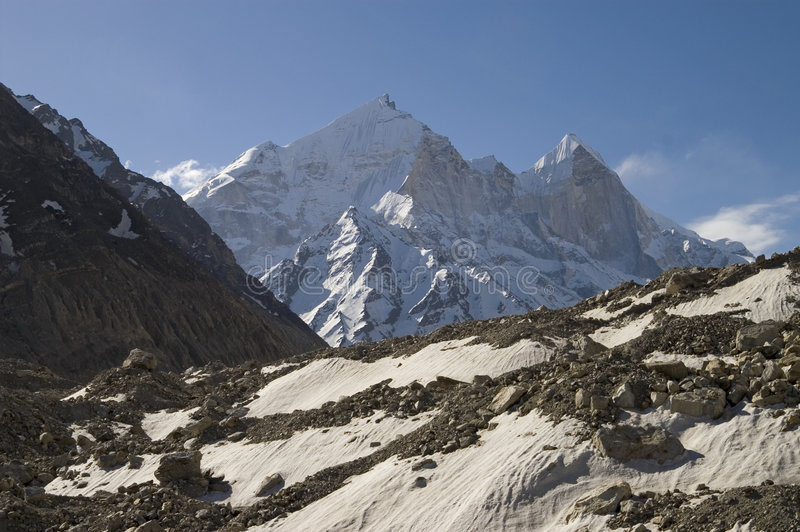 Bhagirathi Parbat and Gangotri glacier royalty free stock photos