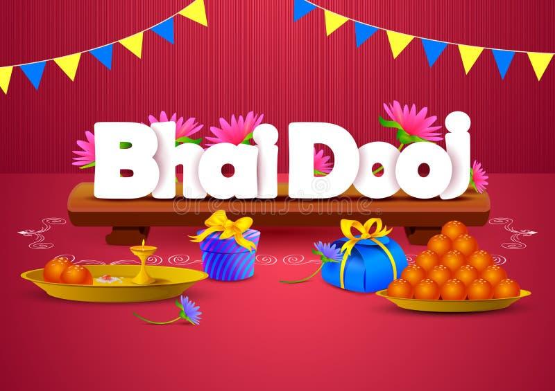Bhai Dooj tapetbakgrund royaltyfri illustrationer