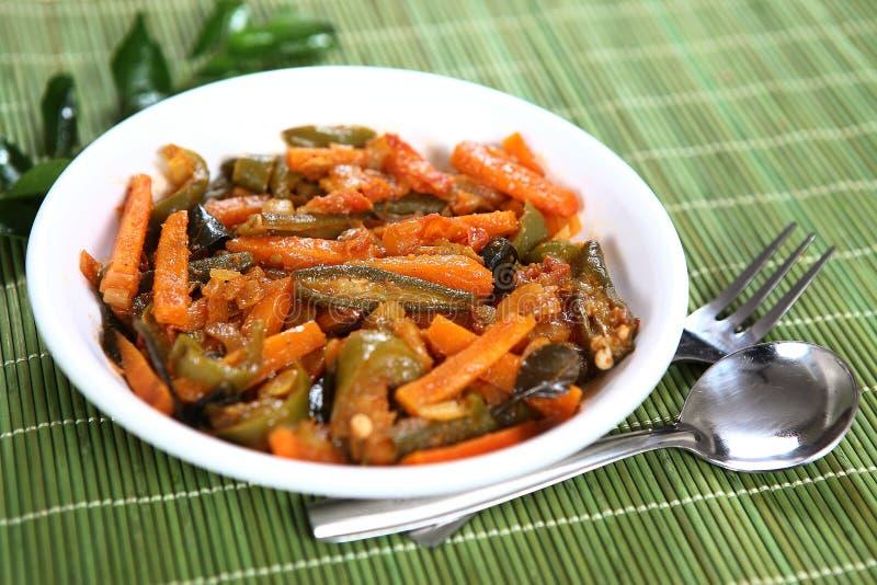 Bhaji vegetal misturado, prato lateral vegetal misturado fotografia de stock royalty free