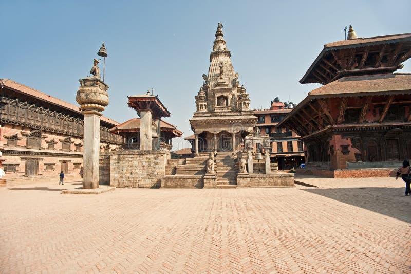 bhaktapur durbar尼泊尔方形寺庙 免版税库存图片
