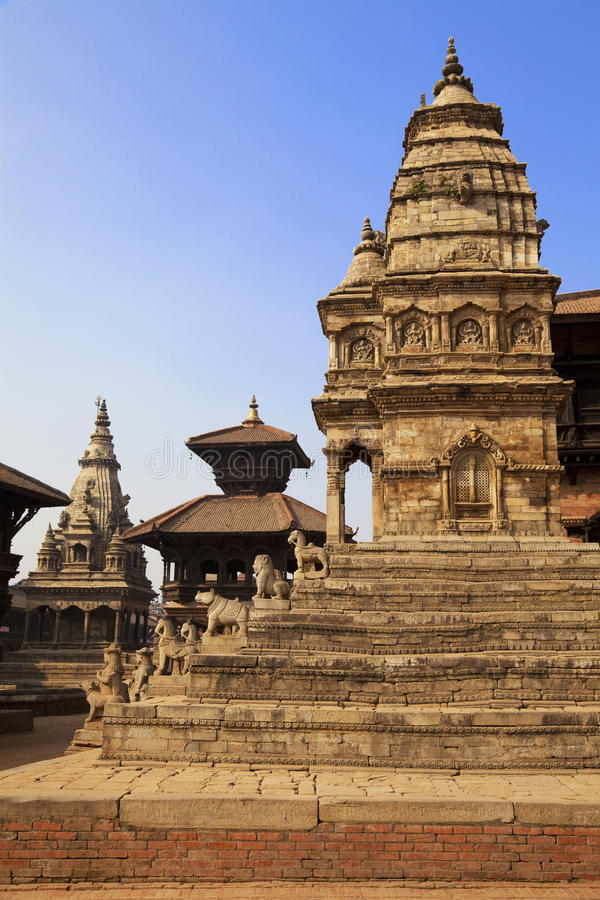 bhaktapur durbar durga尼泊尔方形寺庙 库存图片