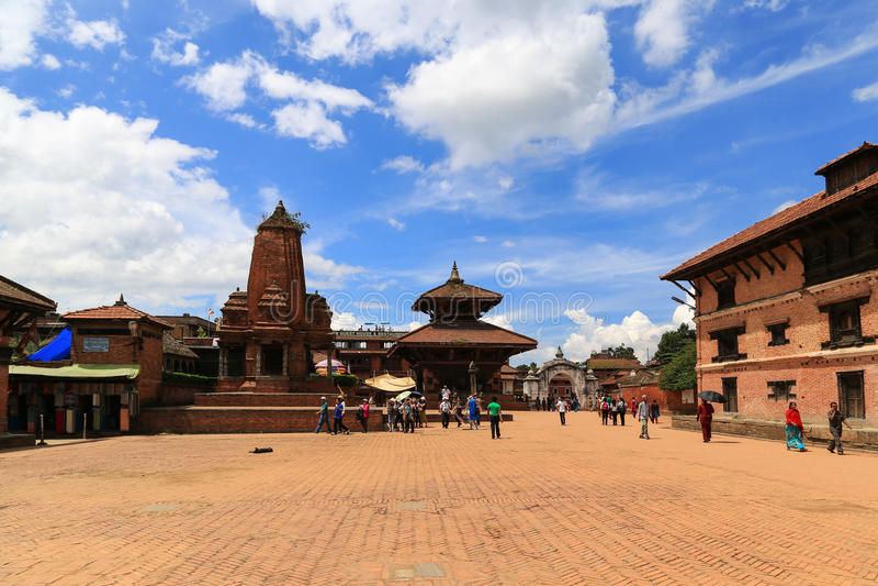 Bhaktapur Durbar fyrkant i Nepal arkivbild