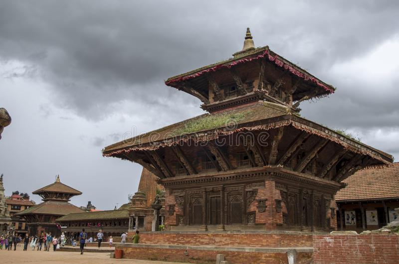 Bhaktapur. Durbar Square as seen from it's entrance gate stock photo