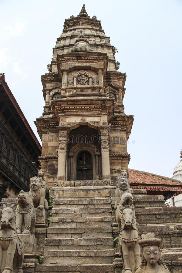 Bhaktapur, Nepal - Circa June 2013: View of Durbar Square. With its traditional buildings in the Kathmandu valley royalty free stock image