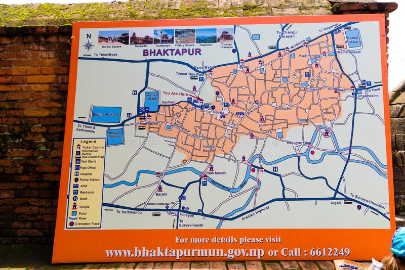 Map of Bhatktapur city, Nepal. Bhaktapur, Nepal - July 16, 2018 : Map of Bhatktapur city, famous for the best-preserved palace courtyards and old city center in stock photo