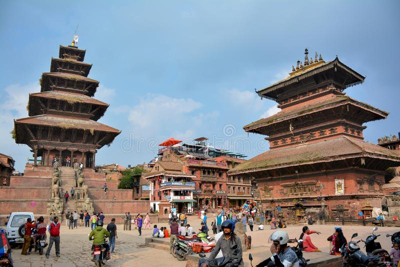 BHAKTAPUR, NEPAL - OCTOBER 10, 2016 - Beautiful view of the Bhaktapur Durbar Square, Nepal stock image