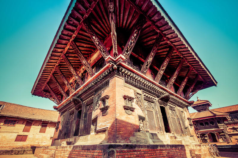 Bhaktapur, Nepal - October 8, 2011: wide angle image of a temple royalty free stock images
