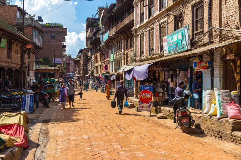 BHAKTAPUR, NEPAL - September 24, 2013: Street in Bhaktapur, ancient Newar city in the Kathmandu Valley. Bhaktapur has the best pr royalty free stock photo