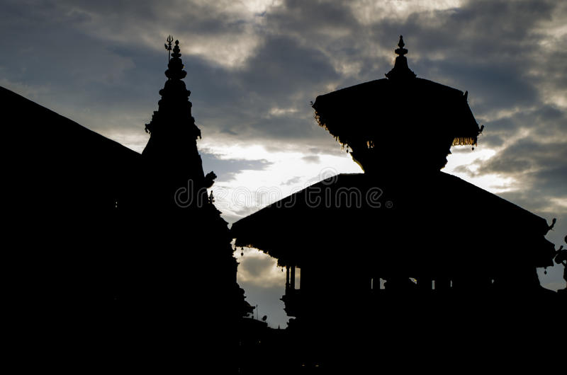Bhaktapur Silhouette. Silhouette photo of Bhaktapur in the evening stock photo