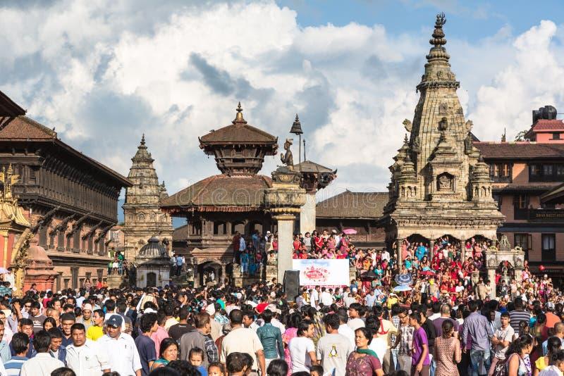 Bhaktapur uliczny festiwal 2012, Nepal obrazy royalty free
