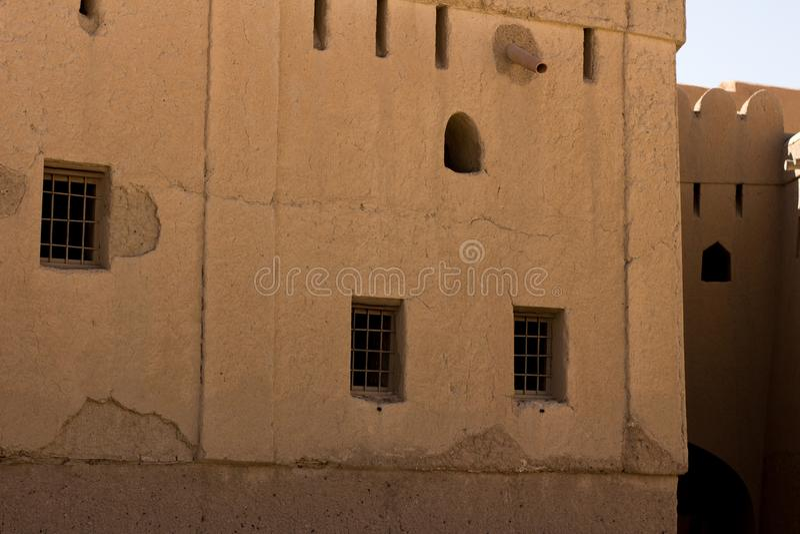 Bhala fortu Oman muszkatołowy antyczny fort sławny dla budowy starej architektury używać dla wnętrzy i powierzchowność fotografia royalty free