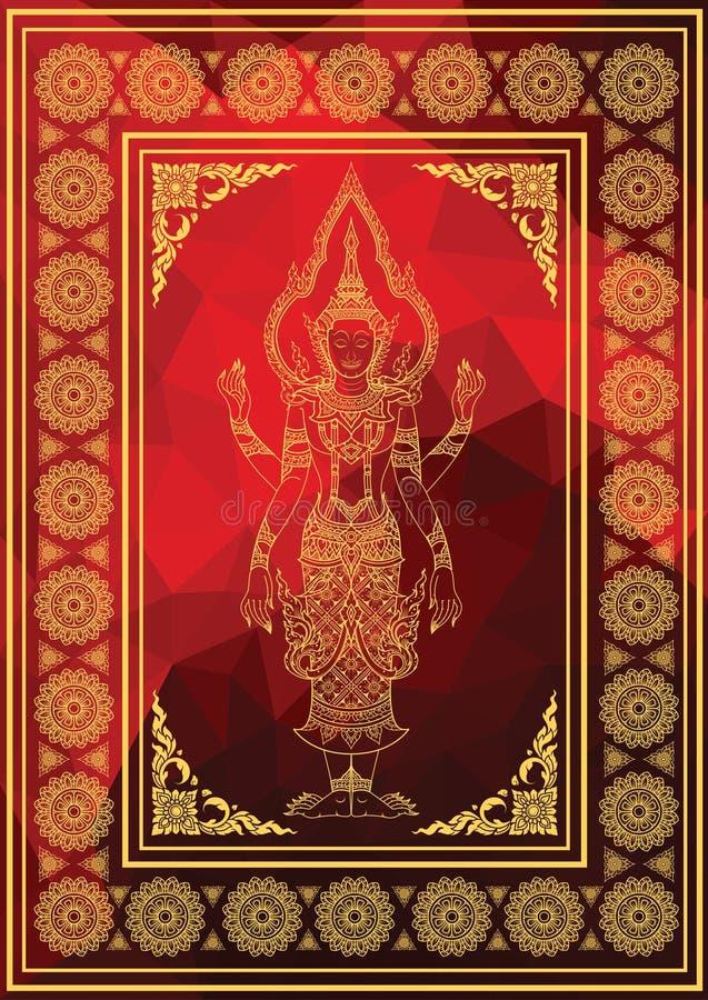 Bhama ramy charakter i tajlandzki tradycja wzór ilustracji