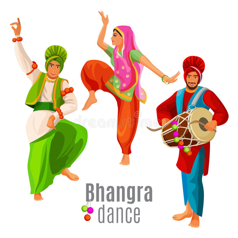 Bhangra dance concept men and woman in national cloth dancing vector illustration
