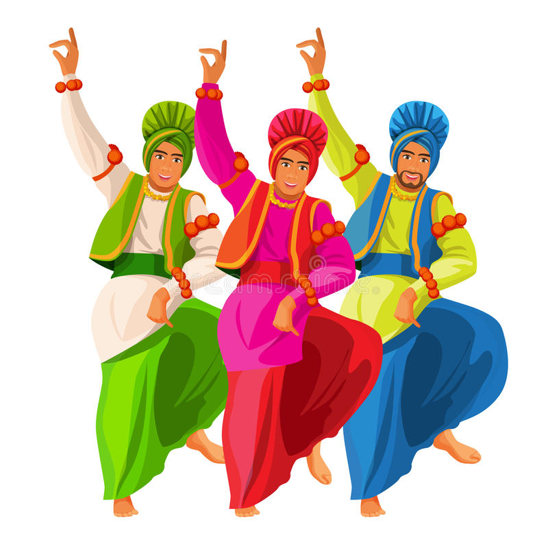 Bhangra dancers in national cloth vector illustration isolated on white. Men dressed in silk shirt and turban, loose loincloth tied around waist. Indian vector illustration