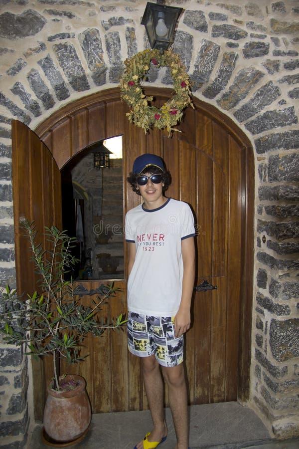 Happy Boy Portrait in Chios Island, Greece stock image