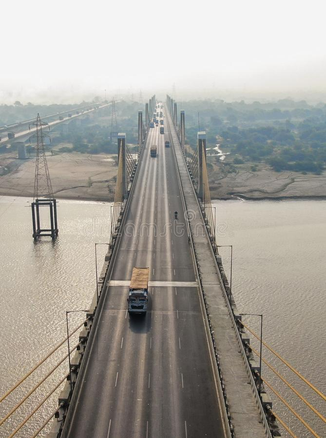 Bharuch cable bridge. Is the longest cable bridge of India stock photography