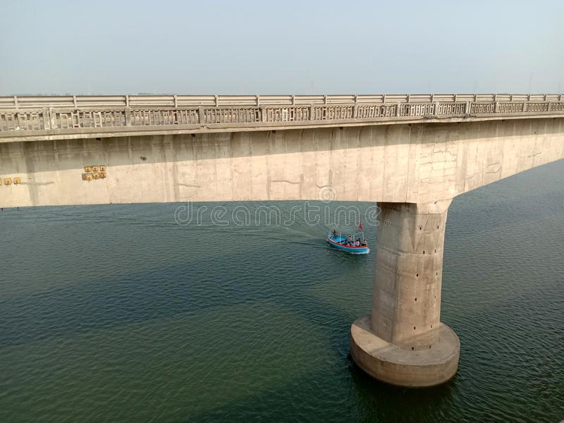 In Bharuch yamuna river cable bridgein india.  royalty free stock photos