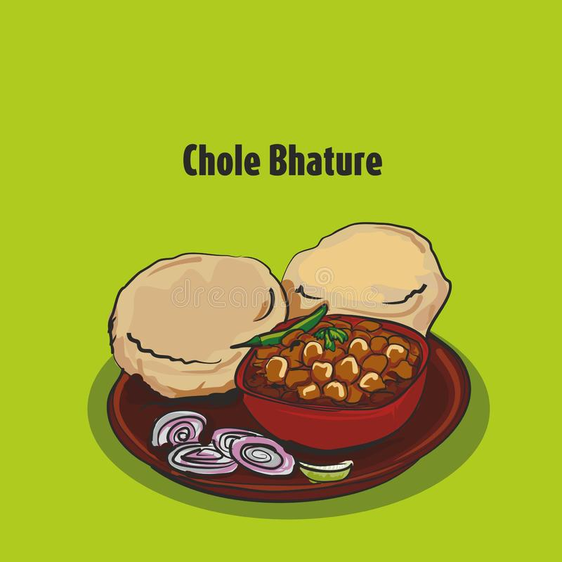 Bhature traditionnel indien de chole de nourriture illustration de vecteur