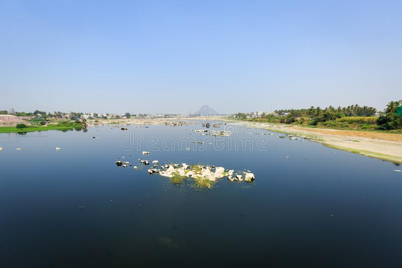 Bhavani River. Bhavani is a major river in Tamil Nadu, India. It is the second longest river in Tamil Nadu and a major tributary of the Kaveri River. A view from royalty free stock photography