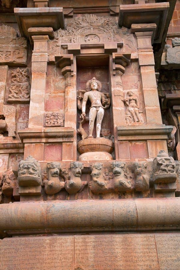Bhikshatana-murti,中央寺庙的南部的适当位置, Brihadisvara寺庙, Tanjore 免版税库存照片