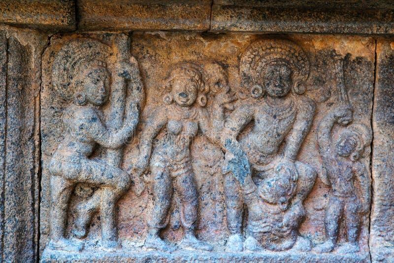 Bhima rescuing Draupadi, motifs on the plinth, Airavatesvara Temple complex, Darasuram, Tamil Nadu. India stock images