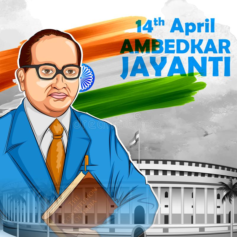 Bhimrao有印度的宪法的Ramji Ambedkar博士Ambedkar的Jayanti 4月14日 皇族释放例证