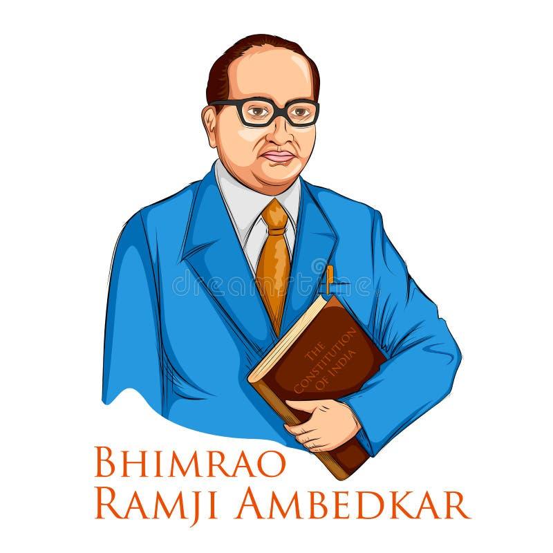 Bhimrao有印度的宪法的Ramji Ambedkar博士Ambedkar的Jayanti 4月14日 向量例证