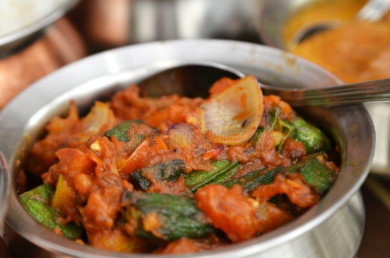 Bhindi masala或秋葵咖喱 库存图片